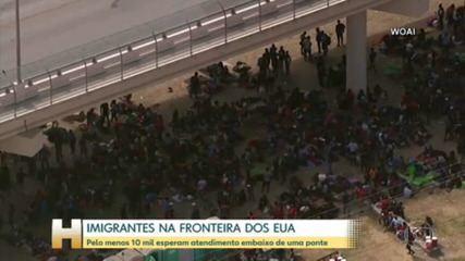 10 mil imigrantes montam acampamento embaixo de ponte entre EUA e México