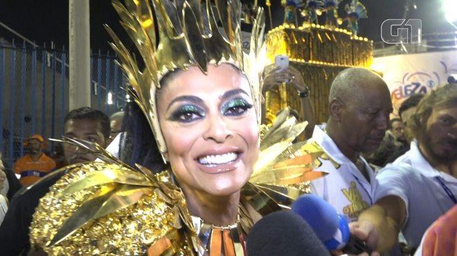 Juliana Paes diz estar emocionada por ser Rainha de Bateria da Grande Rio