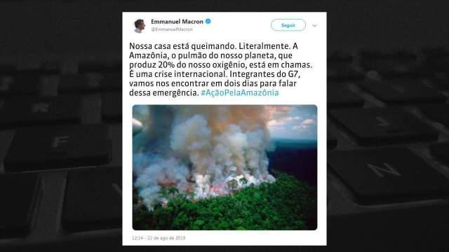 Macron classifica incêndios na Amazônia como crise internacional e pede debate no G7