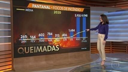Setembro já é o mês com o maior número de focos de incêndio no Pantanal