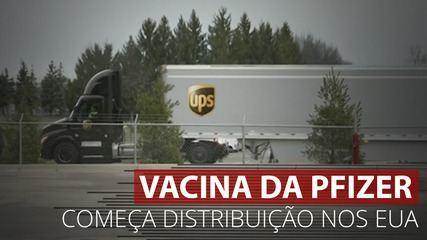 Primeiros caminhões saem da fábrica da Pfizer rumo à distribuição nos EUA