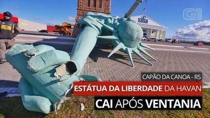 VIDEO: Havan Statue of Liberty falls in Capão da Canoa after windstorm