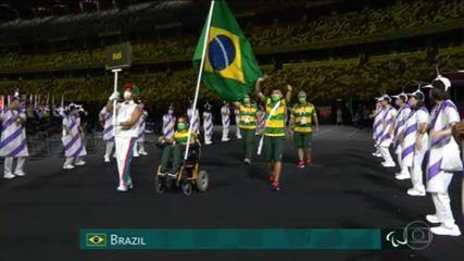 Representatives of the Brazilian delegation arrive at the opening ceremony of the Paralympics