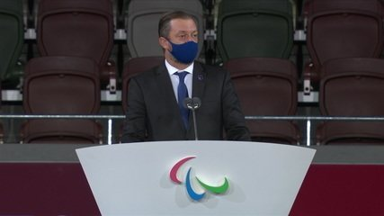 Andrew Parsons, President of the International Paralympic Committee, speaks at the closing ceremony of the Paralympic Games