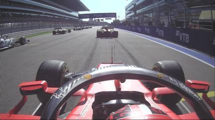 Onboard camera by Leclerc, who played Stroll on the first lap in Sochi