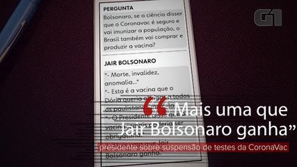 'Outro que ganha Jair Bolsonaro', diz presidente sobre suspensão dos testes do Coronavac