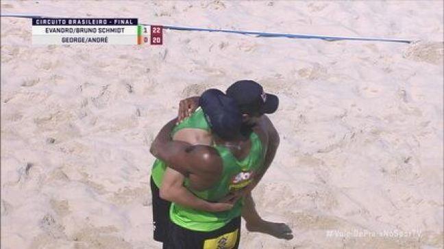 Pontos finais: Evandro/Bruno Schmidt 2 x 0 George/André pela final do CB de Vôlei de Praia
