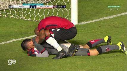 At 5 min of the 2nd half - penalty save by Matheus do Brasil-RS against Vasco