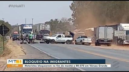 Caminhoneiros fazem bloqueio parcial em rodovias de MT