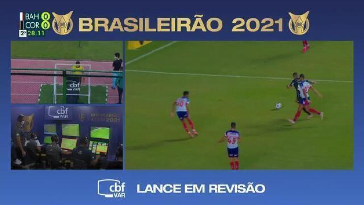 Aos 27 do 2º tempo, VAR analisa possível pênalti par ao Corinthians contra o Bahia