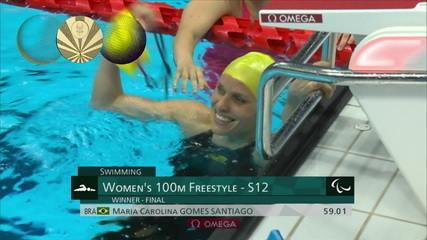 Carol Santiago is gold in the women's 100m freestyle in class S12;  Lucilene Sousa is 6th - Tokyo Paralympics
