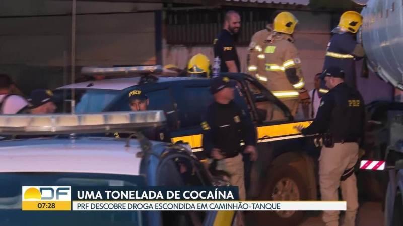 PRF encontra uma tonelada de cocaína em caminhão tanque