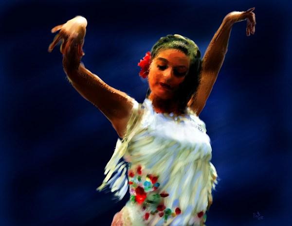 Картинка Танцы Flamenco Dancer in White Девушки Живопись ...