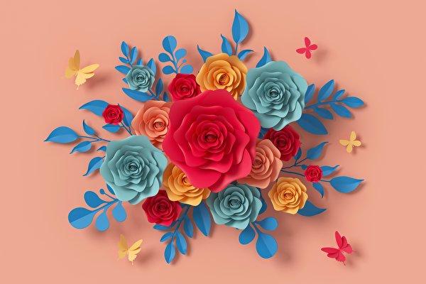 Фотографии Бумага 3д Розы Цветы Дизайн Цветной фон 600x400