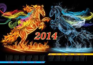 Фотографии 2014 лошадь календаря пламя воде животное
