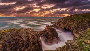 Фото Франция Brittany Море скале Природа рассвет и закат берег