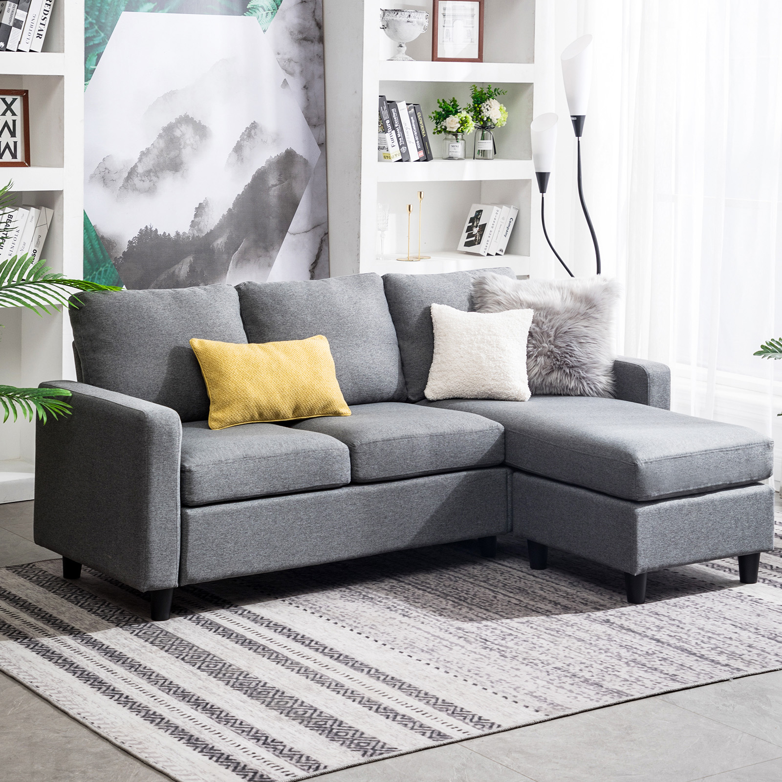 details about grey sectional sofa l shaped couch w reversible chaise for small space