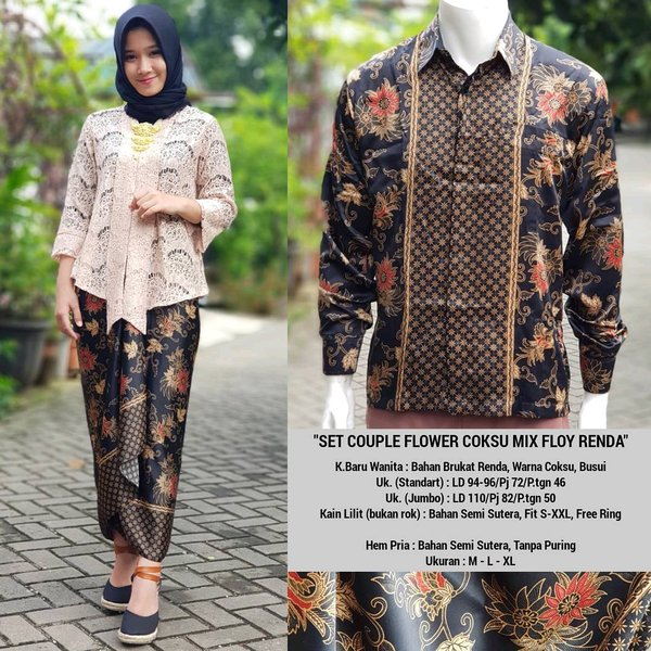 kebaya couple / kutubaru coupe /batik couple / batik cowok lengan panjang / kutubaru big size / baju formal couple Jumbo