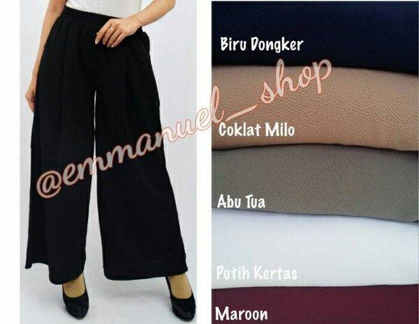 PROMO BESAR Celana Kulot Panjang Wanita Bahan Crepe Silk