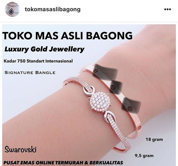 Gelang emas cartier diamonds 10 gram asli emas