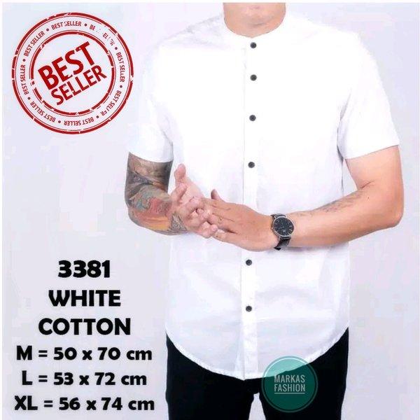 Baju Hem Kemeja Polos Pria Kerah Shanghai Kancing 1 Putih Lengan Pendek Casual Slimfit
