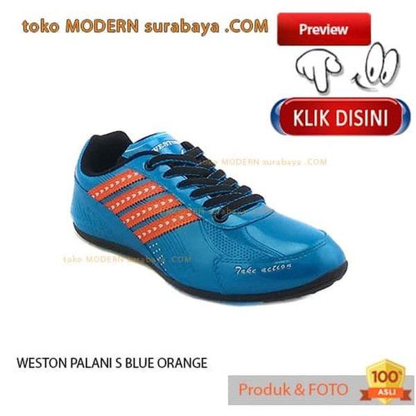 NO 39 WESTON PALANI FUTSAL S BLUE ORANGE sepatu futsal casual sneakers