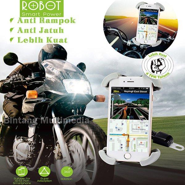Bracket HP Holder Spion Sepeda Motor Robot RT-MH01 Jepit 4 Sisi Sudut Siku Dudukan Handphone GPS Mounting