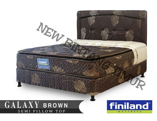Spring Bed Finiland Galaxy Semi Pillow Top Brown 180 x 200 Full Set - Jabodetabek