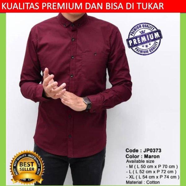 Kemeja pria cowok formal putih maroon slimfit lengan penjang slim fit baju casual slim fit polosan katun premium