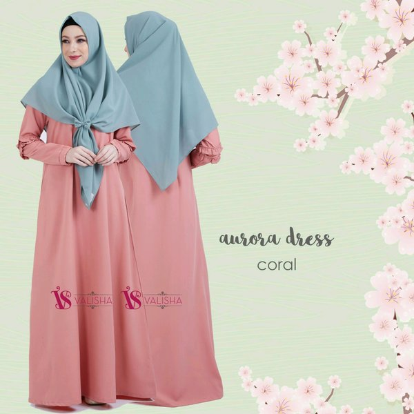 Jual Gamis AURORA DRESS - CORAL by Valisha Dress Only gamis crepe polos formal