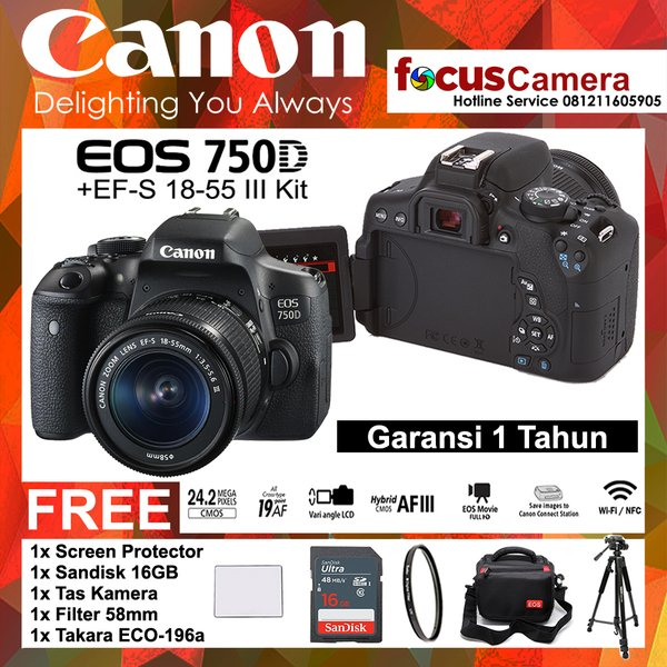 Canon 750D - EF-S 18-55 iii Kit - Screen - Sandisk Ultra 16Gb -Filter 58mm - Tas kamera - Tripod Takara Eco-196a