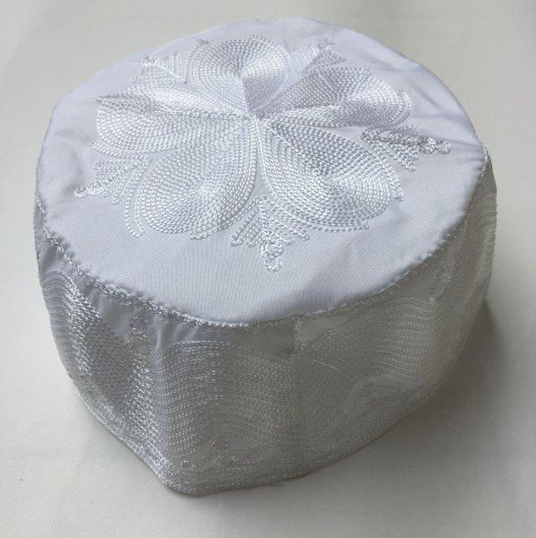 Peci Bukhari Kopiah Madinah Putih oleholeh haji bordir motif