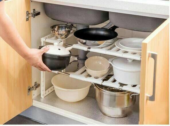 Terlaris Kitchen Rack Portable Stainless Rak Dapur u  Panci Sepatu 2 susun Berkualitas