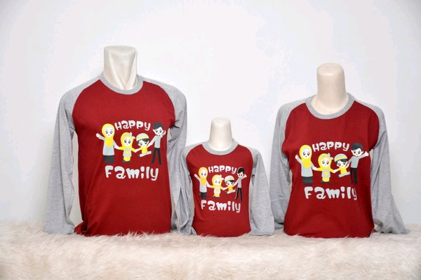 KAOS COUPLE HAPPY FAMILY MARUN MAROON BAJU MUSLIM COUPLE BAJU SAMAAN KAOS MUSLIM