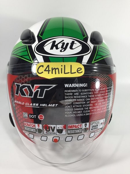 HELM KYT DJ MARU .9 WHITE GREEN HALF FACE LIMITED