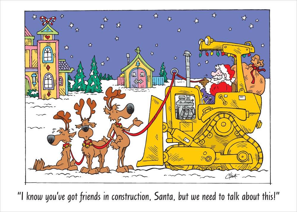 Bulldozer Santa Christmas Card Construction From CardsDirect
