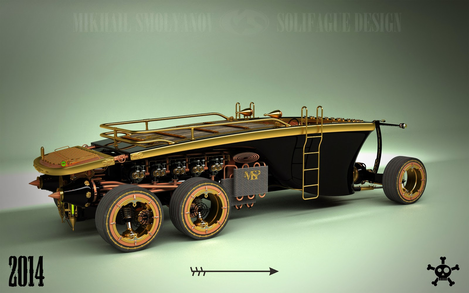 Steampunk 6 Wheel Land Yacht Is A Car From The Future Past