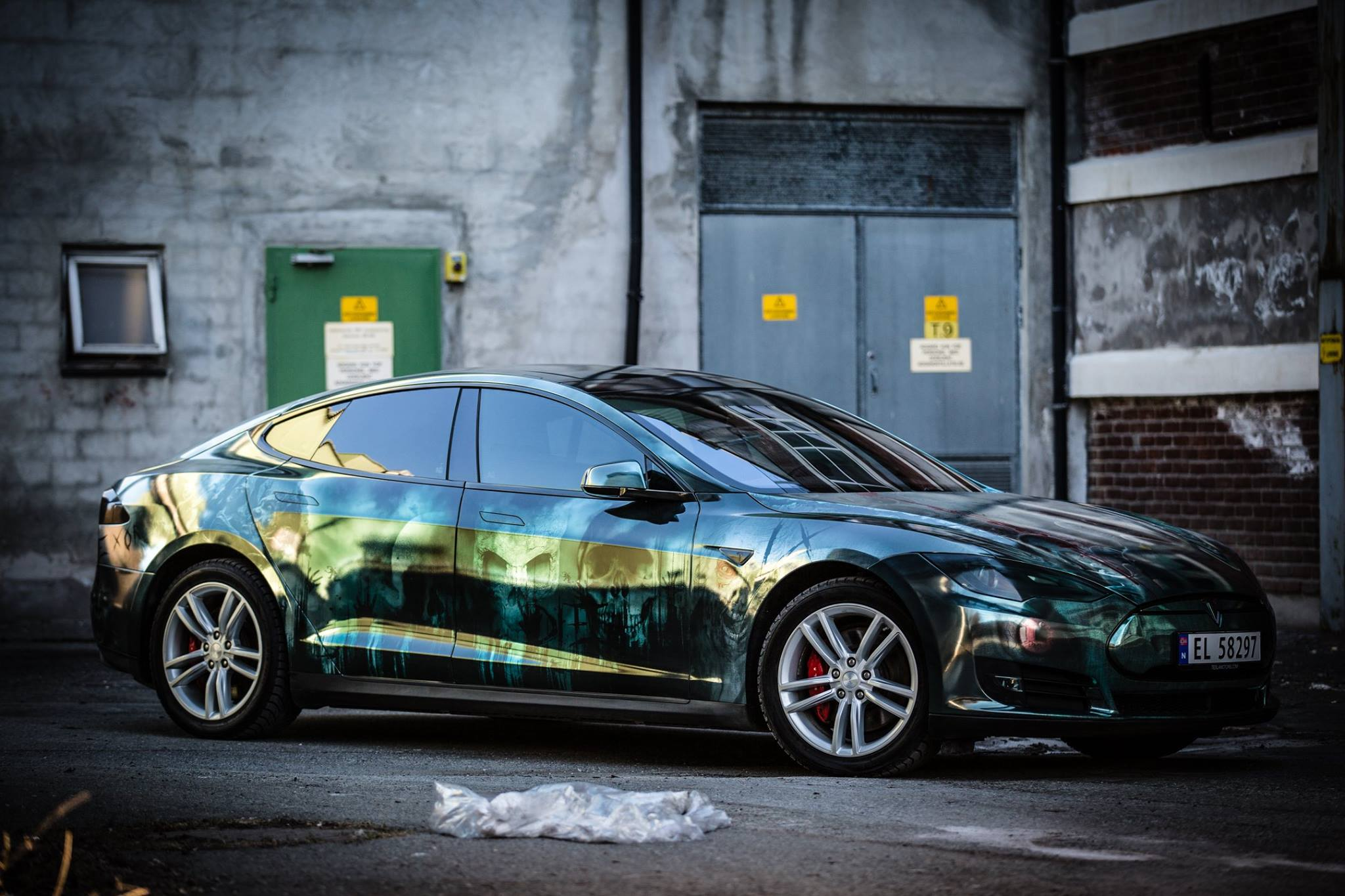 Tesla Model S Wrapped In Zombies Is Two Trending Subjects