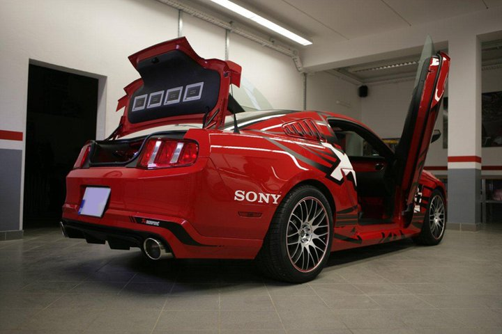 sony ford mustang receives akrapovic
