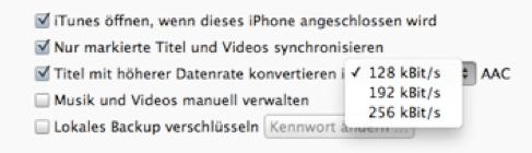 iTunes Komprimierung