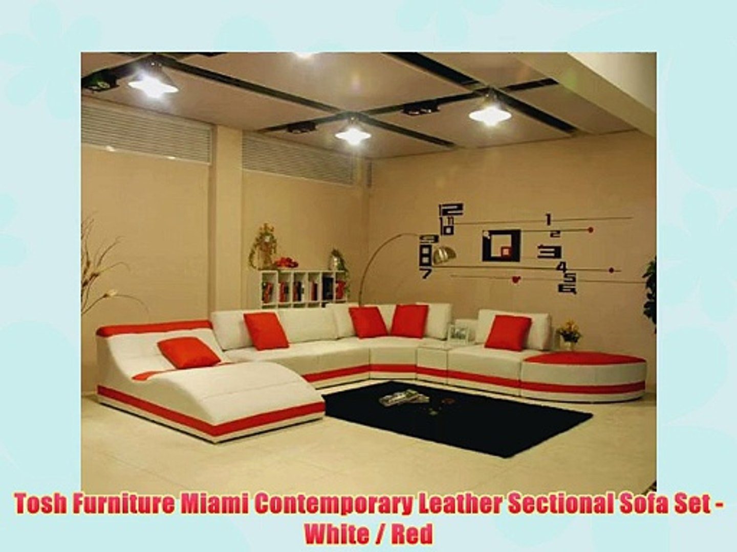 Tosh Furniture Miami Contemporary Leather Sectional Sofa Set White Red