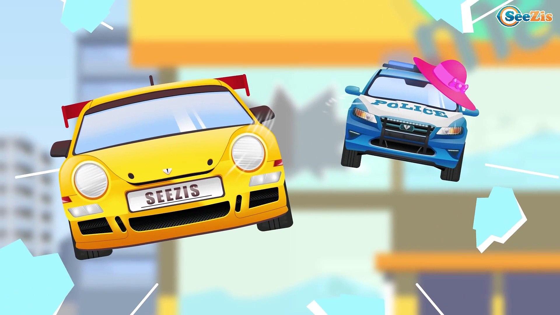 video bebes dessin anime francais la voiture de police voiture transport et voitures colorees