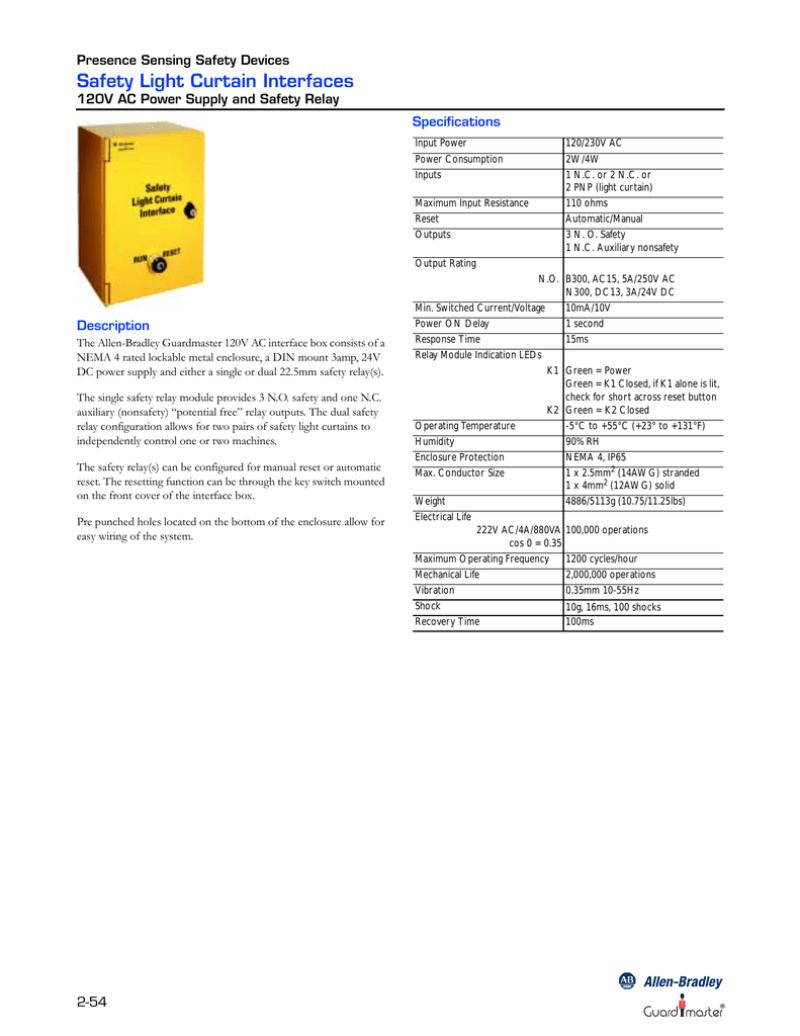 allen bradley 440l light curtain manual