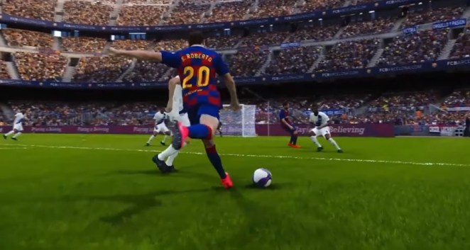 Player about to kick ball in FIFA 2020