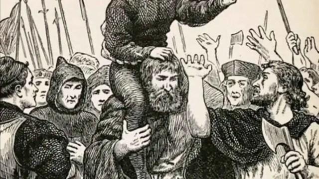 Lambert protagoniza un grabado el día de su coronación como Eduardo VI