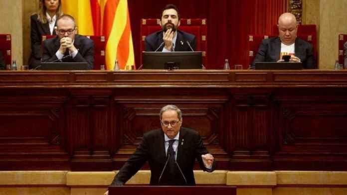 El presidente de la Generalitat, Quim Torra, comparece ante el pleno del Parlament.