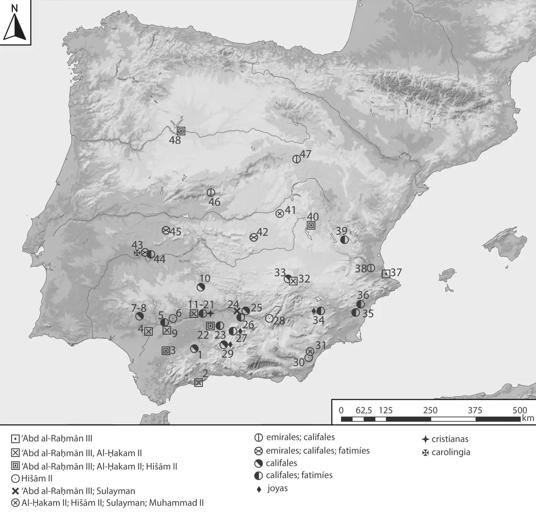 Localización geográfica de los depósitos de moneda califal en territorio peninsular.