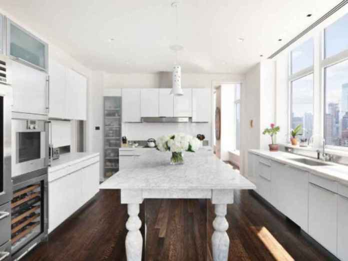Kitchen of the penthouse that Jennifer Lawrence has sold in New York.