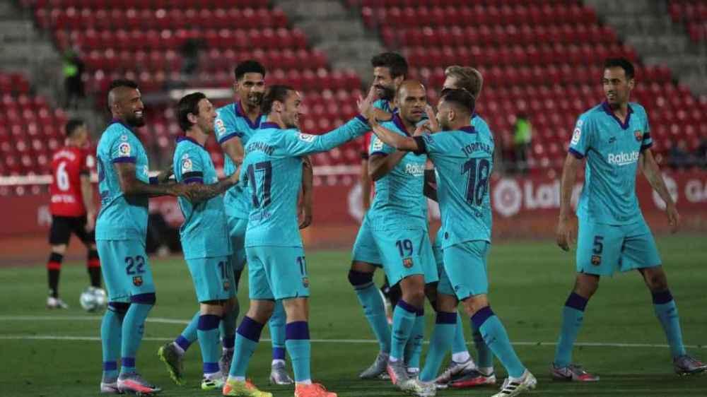 El Barcelona celebra un gol contra el Mallorca