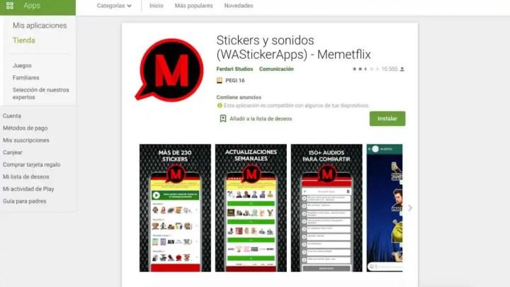 App de stickers y sonidos para WhatsApp.